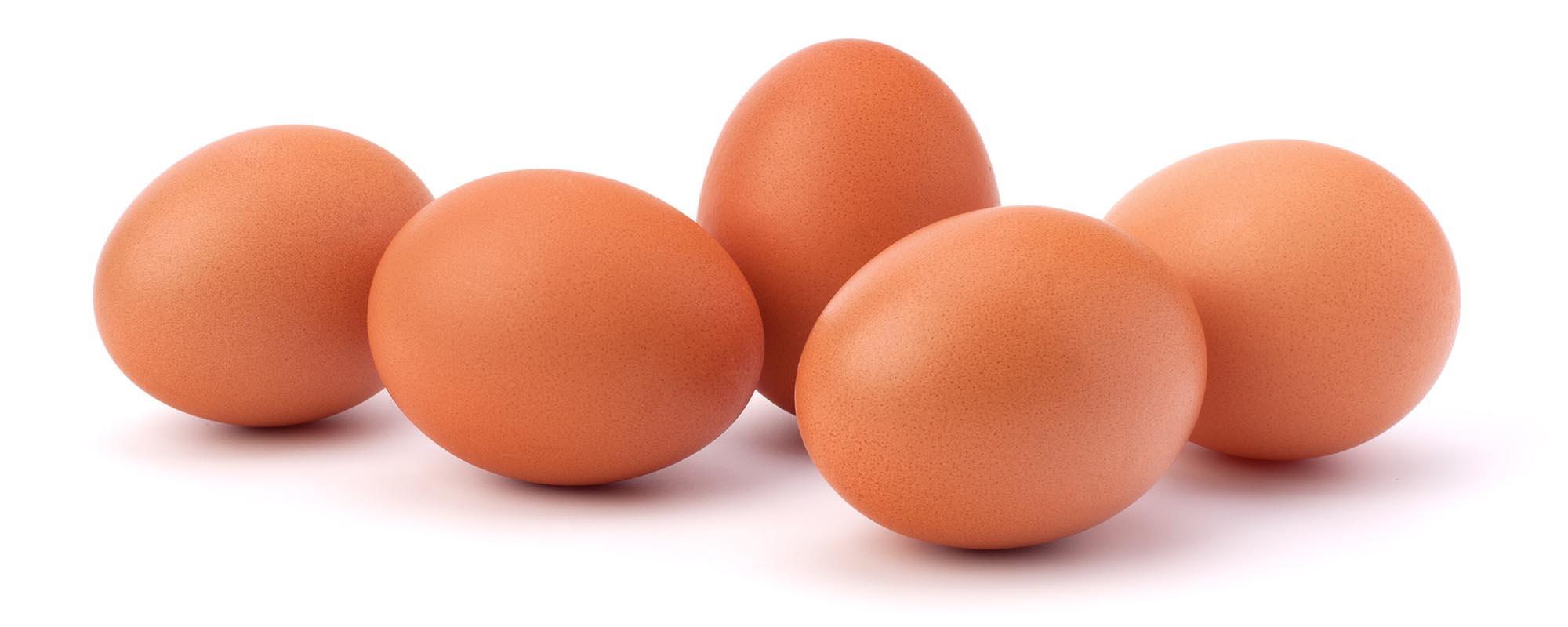 cinco ovos lado a lado.